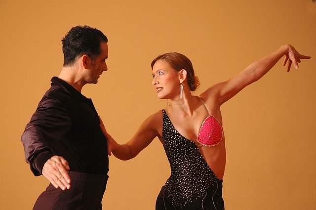 A man and a woman dancing